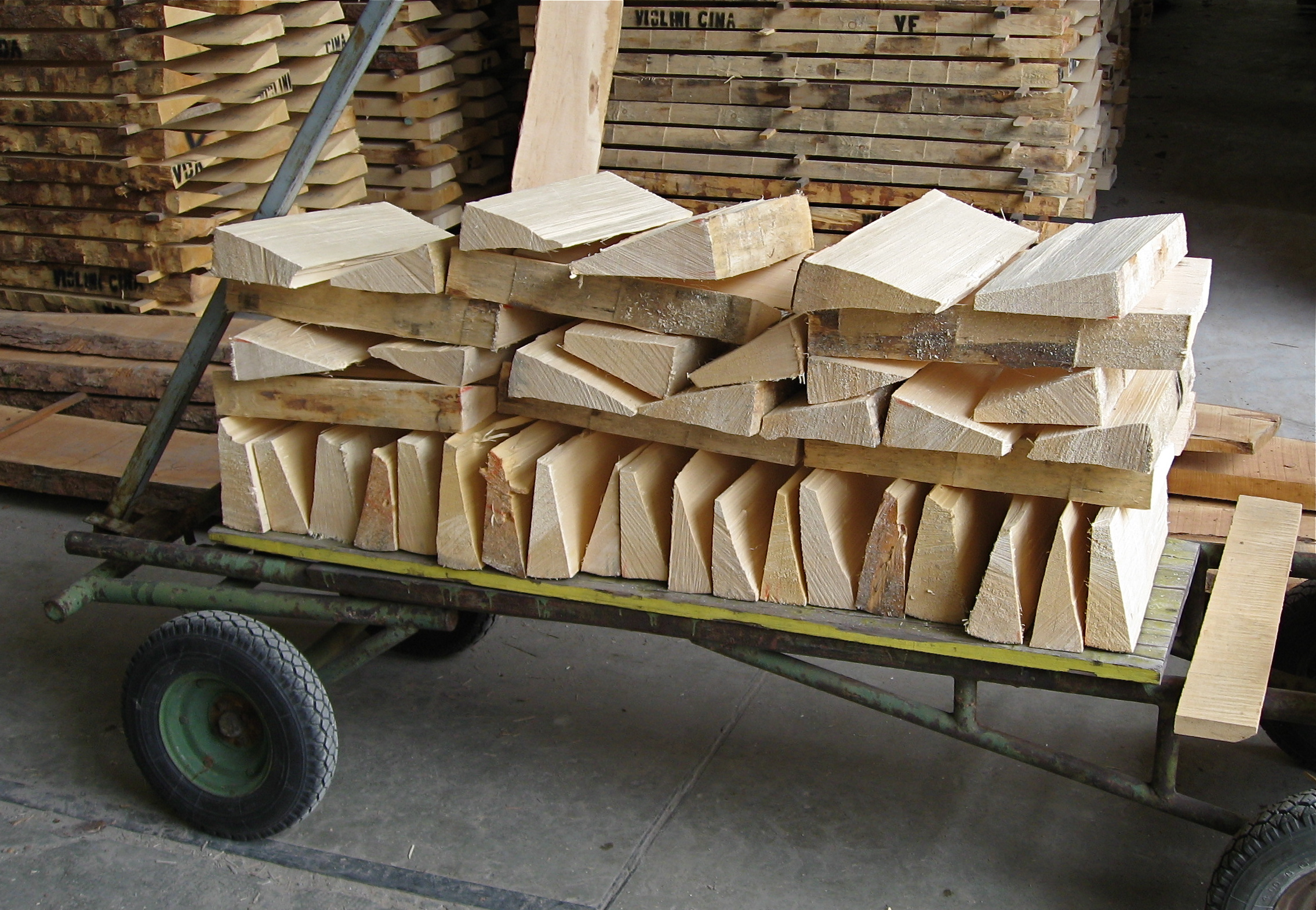 Hand split wedges of Italian spruce selected for violins and violas